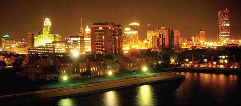 image of Buffalo at night